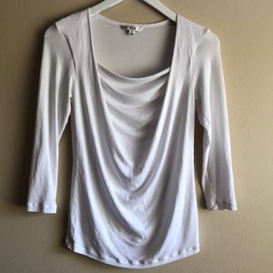 CAbi #427 white draped neck stretch blouse Sz S